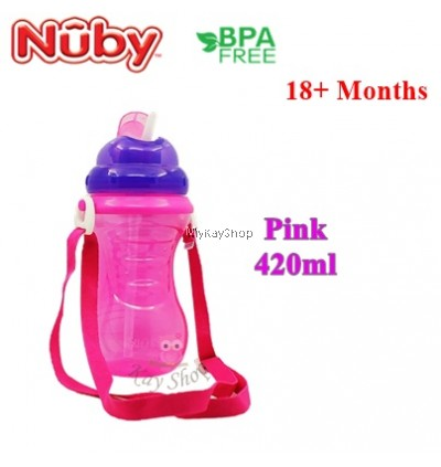 Nuby Flip It With Thin Silicone Straw Cup With Carrying Strap - 420ml
