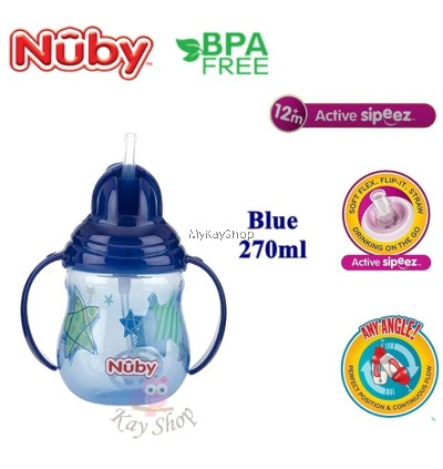 Nuby Designer Pinpoint 2 Handle Click-It Trainer Cup With Weighted Straw-270ml