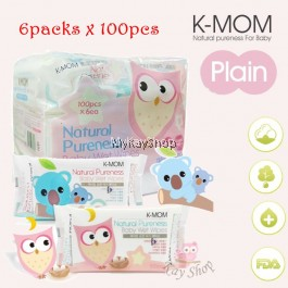 K-MOM Naturefree Wet Tissues Basic - (6packs x 100's) Bundle
