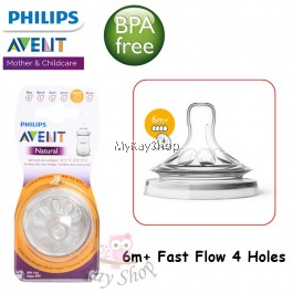 Philips Avent Natural Feeding Bottle's Teats 6M+4H - 2 pieces SCF654/23