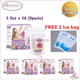 Autumnz Double ZipLock Breastmilk Storage Bag - 3.5oz x 5Packs FREE ice bag