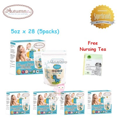 Autumnz Double ZipLock Breastmilk Storage Bag - 5oz (Zebra) x 28 (5packs)