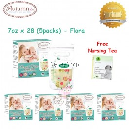 Autumnz Double ZipLock Breastmilk Storage Bag - 7oz (Flora) x 28 (5packs)