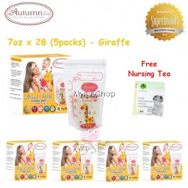Autumnz Double ZipLock Breastmilk Storage Bag - 7oz (Giraffe) x 28 (5packs)