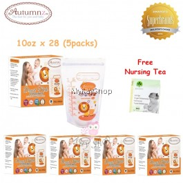 Autumnz Double ZipLock Breastmilk Storage Bag - 10oz (Lion) x 28 (5packs)