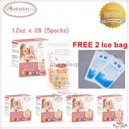 Autumnz Double ZipLock Breastmilk Storage Bag - 12oz (Flora) x 5Packs FREE ice bag