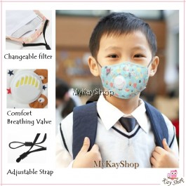 KIDS Antibacteria Reusable Face Mask PM2.5 Protection with Breathing Valve-FREE filter
