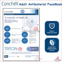 Conchell TRITON - ADULTS Antibacteria Reusable Facemask Face Mask N95 (1pc) PM2.5 Protection-Haze