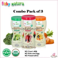 Baby Natura Organic Riceberry Puffs - Combo Pack of 3 (Apple Berries, Pumpkin Carrot, Mixed Veggies)