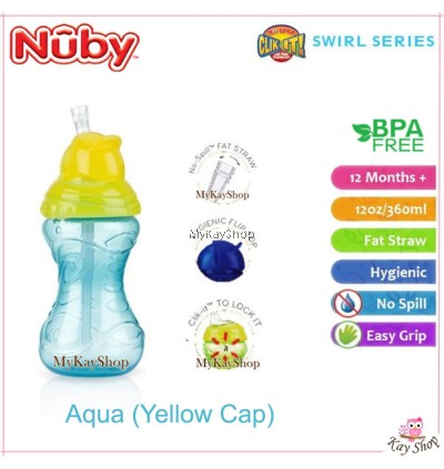 Nuby Click-it Flip-it Cup Fat Straw 12 months+ (12oz/360ml)